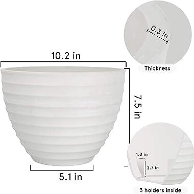 Flower Pot Outdoor Indoor Planter - 10.2 Inch Fluted Plant Pot Garden Planter, White Stone