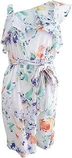Calvin Klein Women's Printed One-Shoulder Flounce Dress