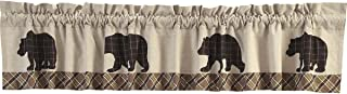 VHC Brands Rustic & Lodge Kitchen Window Curtains-Wyatt Tan Bear Valance, 16x90