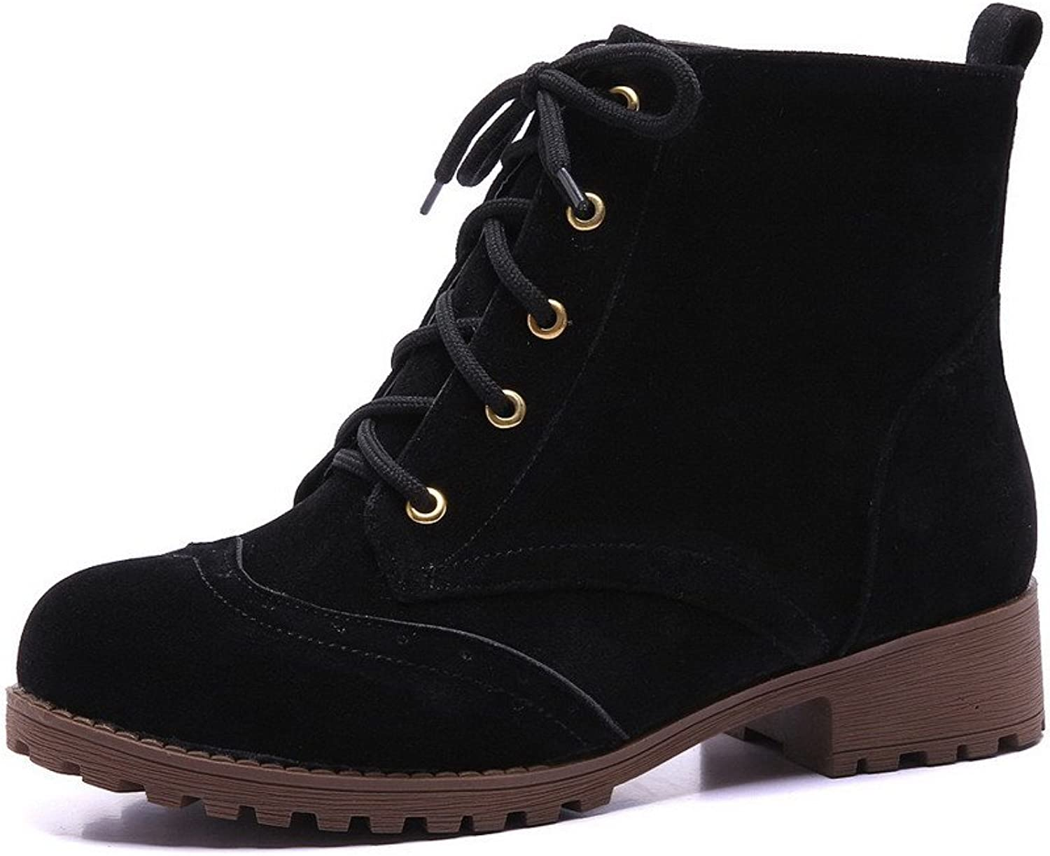AllhqFashion Women's Lace-up Round Closed Toe Low-Heels Imitated Suede Low-top Boots