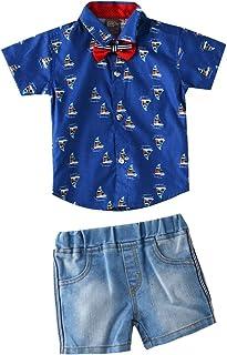 Little Kangaroos Baby Boys H/S AOP Shirt With Denim Short,Blue-ROGS2019303B