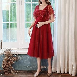 WZHZJ Robes d'invité de mariage MIDI de longueur de thé pour femme enceinte Elegant Col V-Col V A-Line Empire Robes de bal...