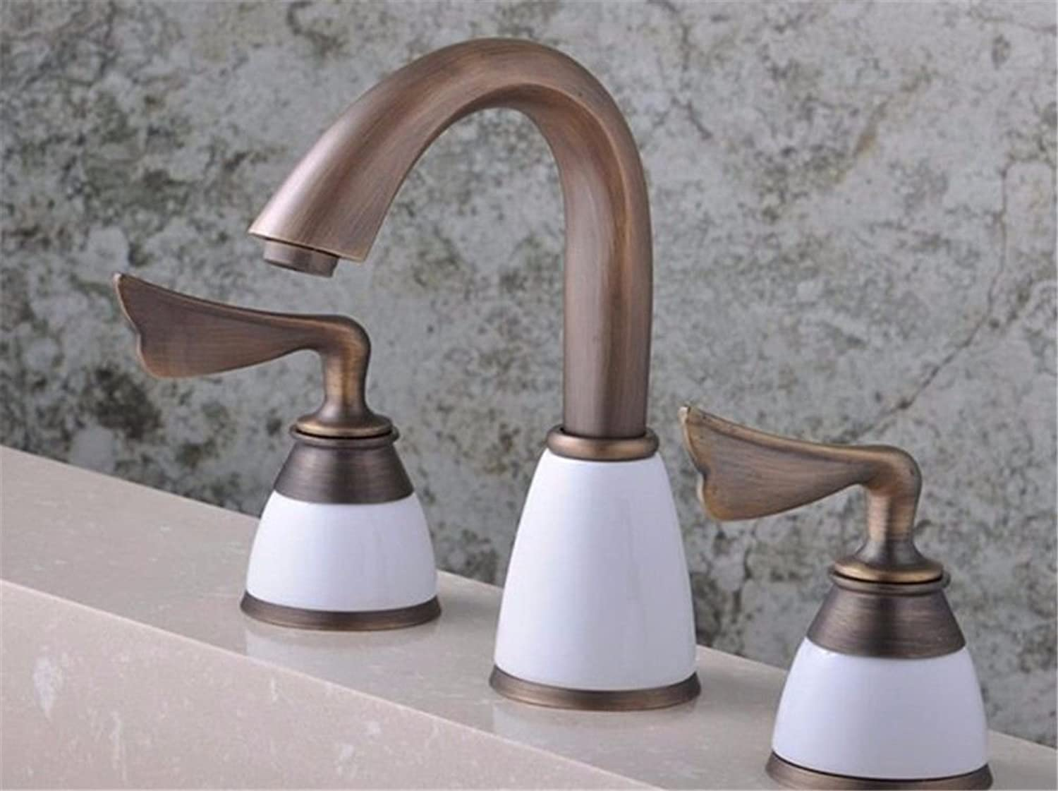 Gyps Faucet Basin Mixer Tap Waterfall Faucet Antique Bathroom The Antique copper cold water faucet three hole retro bath into the wall bathroom sink kitchen sink Bathroom Tub Lever Faucet
