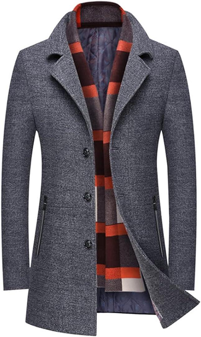Men Coat Slim Fit Thick Wool Blends Men Long Trench Coat Fashion Grey Woolen Jacket Scarf Collar Warm Overcoat