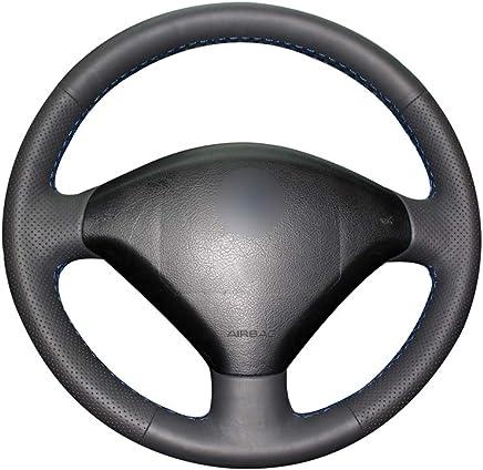 KDKDKLMB Cubierta del Volante Handsewing Negro PU Cuero Artificial Coche Volante Cubre Envoltura para Peugeot 307