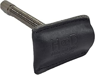 Leather Double Edge Safety Razor Head Protective Sheath / Shaving Travel Cover Handmade by Hide & Drink :: Charcoal Black