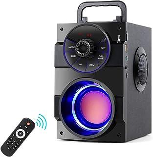 S37 Bluetooth Lautsprecher, 11W tragbarer Bluetooth Musikbox mit Subwoofer, FM Radio, LED Leuchten,30 Meter Reichweite, Bluetooth 5.0 Wireless Stereo Lautsprecher für Außen und Innenpartys (Black)
