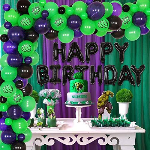 Decoración de cumpleaños de superhéroes para niños Vengadores decoraciones de cumpleaños púrpura verde y negro superhéroe fiesta globo guirnalda feliz cumpleaños globo Banner