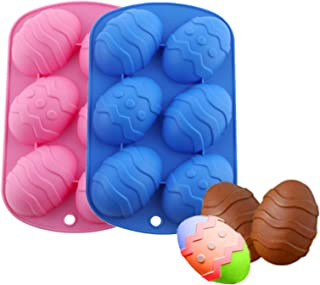 6 Holes Silicone Molds, Easter Egg Molds, Egg Silicone Chocolate Mold, Large Easter Egg for Cocoa Bombs & Breakable Egg Ch...