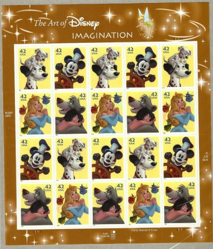 The Art of Disney Imagination Collectible Stamp Sheet of Twenty Stamps Scott 4342-45 by USPS