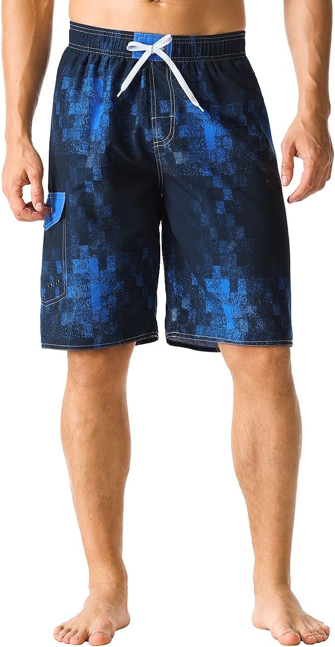 Nonwe Men's Swim Shorts Quick Dry Elastic Waist Boardshorts with Cargo Pokcet