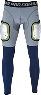 Men's Pro Combat Hyperstrong Hard Plate 3/4 Length Football Skill Pants/Recovery Tights 634669-062 (Large) Grey/Royal