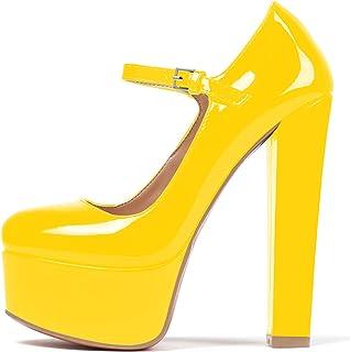 EDEFS Donna Scarpe con Tacco Donna,Scarpe con Cinturino alla Caviglia Donna,Scarpe con Plateau Donna