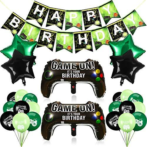 25 Stück Videospiel Party Zubehör inklusiv Spiel Kontroller Luftballons und Happy Birthday Spiel Banner Game on Luftballons Stern Aluminium Folien Luftballons für Geburtstag und Spiel