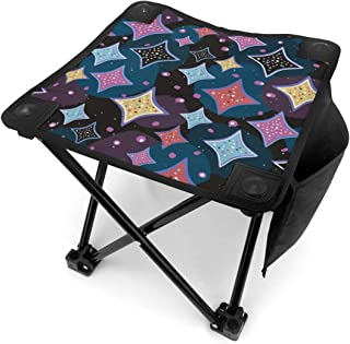 アウトドア 椅子 世紀半ばのモダンなダイヤモンドパターン アウトドア 椅子 ピクニック 釣り コンパクト イス 持ち運び キャンプ用軽量 収納バッグ付き 折りたたみチェア レジャー 背もたれなし