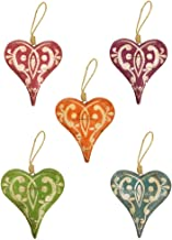 Haven Weathered Painted Hanging Wooden Hearts, Cyan/Rose/Green/Orange/Purple, Set of 5