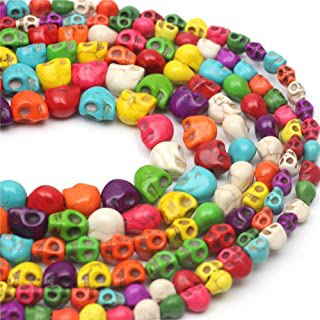 Oameusa 8x10mm Turquoise Skull Beads Round Beads Gemstone Beads Loose Beads Agate Beads for Jewelry Making 15