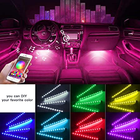 Car Interior Light YI-SHANEY Car LED Strip Lights 4pcs 48 LED Bluetooth APP Control Atmosphere Lights Multicolor Music Under Dash Car Strip Lighting Kit for DIY Car Indoor Party (Car Cigarettet)
