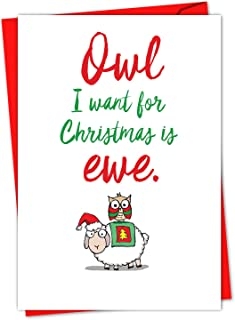12 'It Was the Pun Before - Bees' Boxed Christmas Cards with Envelopes 4.63 x 6.75 inch, Cute Bug Cartoon Christmas Notes, Adorable Bees Pun Holiday Cards, Fun Christmas Stationery C5550BXSG-B12