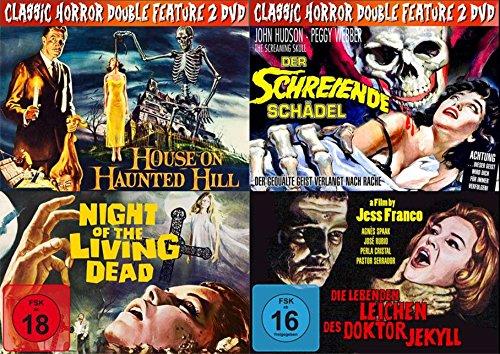 4 Horror Klassiker HOUSE ON HAUNTED HILL (Die 7 Särge des Dr. Horror) + NIGHT OF THE LIVING DEAD + DER SCHREIENDE SCHÄDEL + DIE LEBENDEN LEICHEN DES DR. JEKYLL DVD Limited Edition