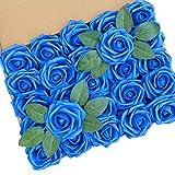 Künstliche Blumen, königsblau, echte Schaumstoff-Rosen, künstliche Blumen mit Stielen für...