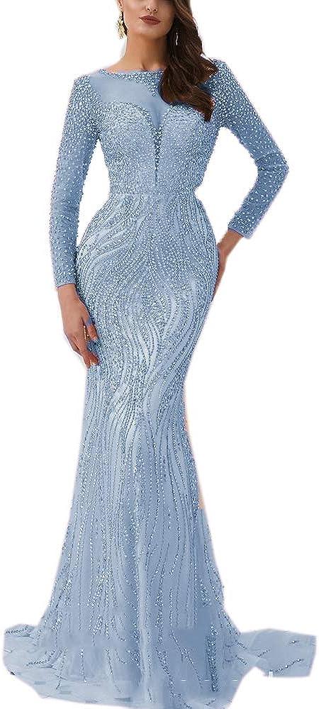 Women's Mermaid Evening Dresses Long Sleeves Spandex Crystal Beaded Long Formal Party