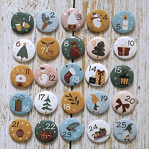 HERZWILD adventskalender Zahlen Buttons Nummer anstecker nadeln weihnachtskalender selber basteln f. Jutesäckchen (weihnachtsmann)