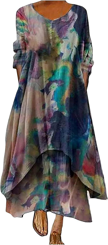 EZ Tuxedo Women's Retro Style Plus Size Dress O Neck Long Sleeve Button Up Loose Irregular Hem Floral Print Dress
