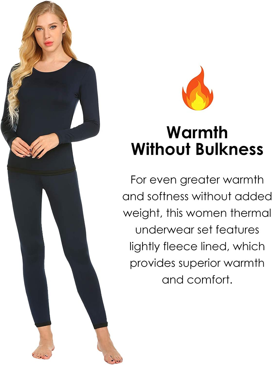 Ekouaer Women's Thermal Underwear Sets Micro Fleece Lined Long Johns Base Layer Thermals 2 Pieces Set