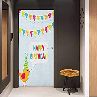 Door Sticker Kids Birthday Two Row Party Flag Cartoon Bird Happy Birthday Quote Image Artwork Print Glass Film for Home Office W32 x H80 Multicolor
