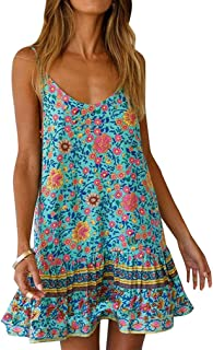 Qearal Womens Boho Floral Printed Dress Summer Sleeveless Adjustable Strap Beach Mini Dress with Pockets