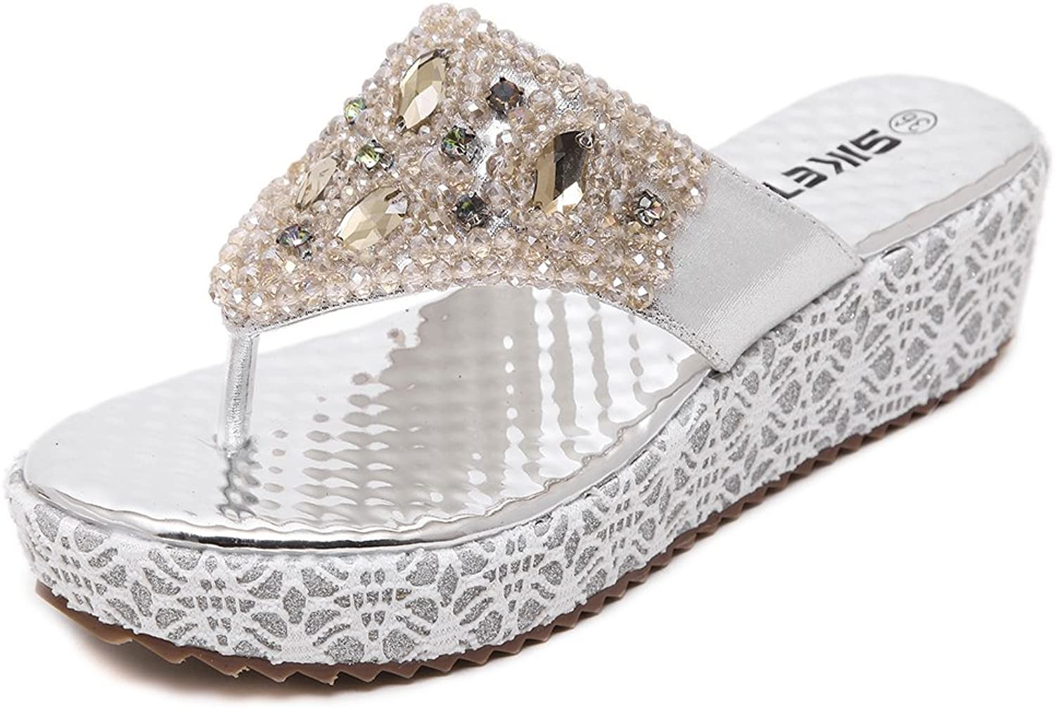 Tuoup Leather Jeweled Fashion Platform Womens Thong Sandals