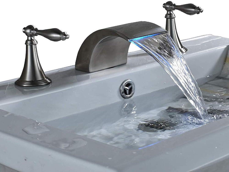 360° redating Faucet Retro Faucetrozin Widespread 2 Handles Bathroom Basin Faucet Led Light Waterfall Vanity Sink Mixer Tap