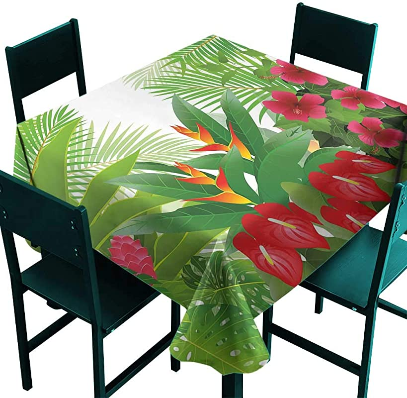 All Of Better Leaf Tablecloths Tropical Exotic Forest Hibiscus Red Ginger And Anthurium Flowers White Dark Green And Hot Pink Small Square Tablecloth W 36 X L 36