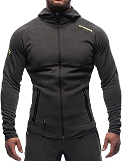 Men's Gym Workout Hoodie Jacket Fitted Training Bodybuilding Running Active Sweatshirts with Zipper Pockets