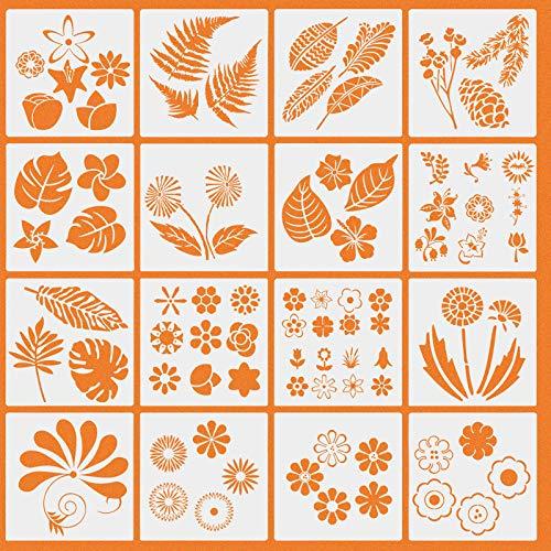 plantillas de dibujo,16 plantillas de dibujo de flores plantas patrones conjunto de plantillas para manualidades diseño de hojas florales moldes de pintura reutilizables plantilla de diario