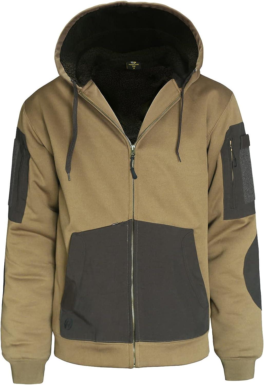 HARD LAND Men's Work Zip Up Hoodie Heavyweight Water Resistant Thermal Lined Hooded Jacket Winter Sweatshirt