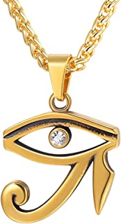 U7 Vintage Egpytian Jewelry Eye of Horus/God Anubis/Pyramid/Pharaoh/Queen/Ankh Cross Pendant Stainless Steel / 18K Gold Plated African Necklace for Men and Women