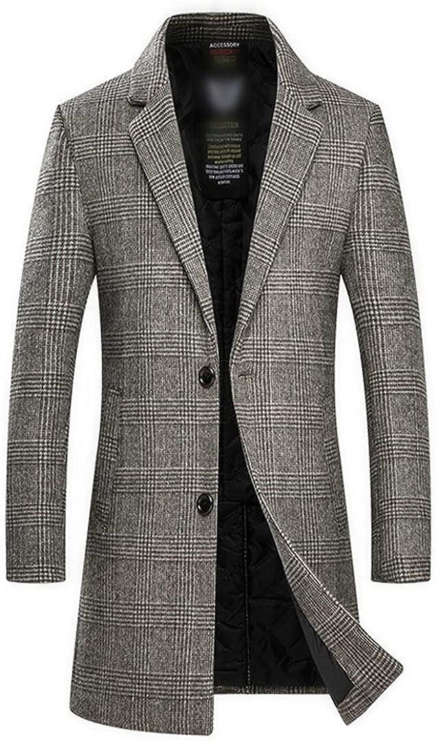 Men's Wool Coat Slim Fit Thicken Warm Long Jacket Male