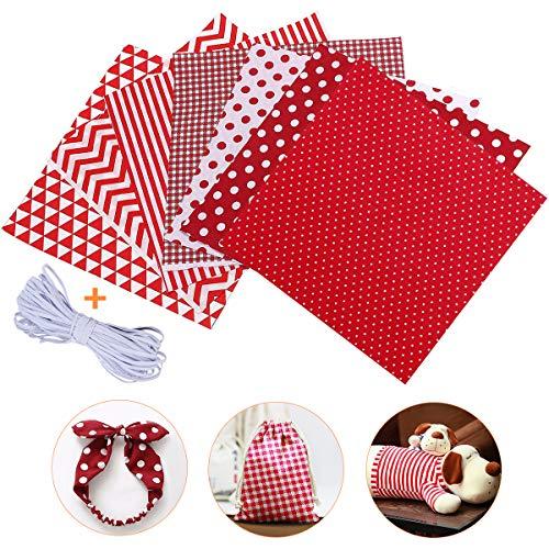 Jeteven 7Pcs Baumwollstoff Meterware Stoffpakete 50 x 80cm + 4m Gummibänder, Nähstoffe Patchwork Stoffe 100% Baumwolle DIY Stoff, für Puppenkleider Ärmel Haarband Handwerk (Rot)