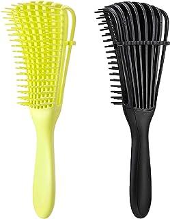 2 cepillos de desenredo para cabello afroamericano/ africano, textura de 3a a 4c, pelo ondulado, rizado, espiralado, húmedo, seco, graso, grueso, largo, para desenredar nudos fácil de limpiar