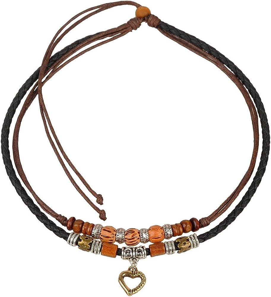 Ancient Tribe Vintage Hemp Black Leather Choker Necklace