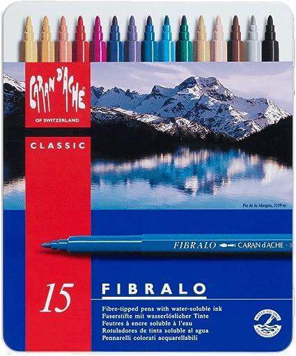 Caran Dache Fibralo - Bolígrafos de fibra (caja metálica, 15 unidades)