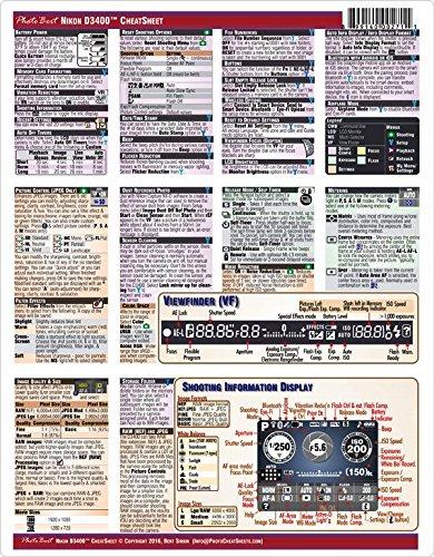 Nikon D3400 Digital SLR Camera CheatSheet (short version, laminated instruction manual)