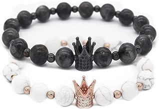 Gemfeel 8mm Black Labradorite & White Howlite CZ Her King/His Queen 8mm Beads Couple Bracelet, 7.6