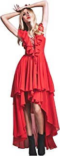 CA Mode Women V-Neck Lace Up Wedding Evening Gown Prom Party High Low Dress