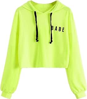 Women's Letter Print Long Sleeve Crop Hoodie Sweatshirt Pullover