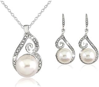 PRESKIN scintillante d'argento dei monili | Perle con strass scintillanti combinati | a forma di goccia ciondolo con pietr...