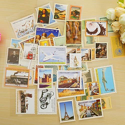 4 Blatt/Los Vintage Reise Briefmarke Papier Aufkleber Paket DIY Tagebuch Dekoration Aufkleber Album Scrapbooking