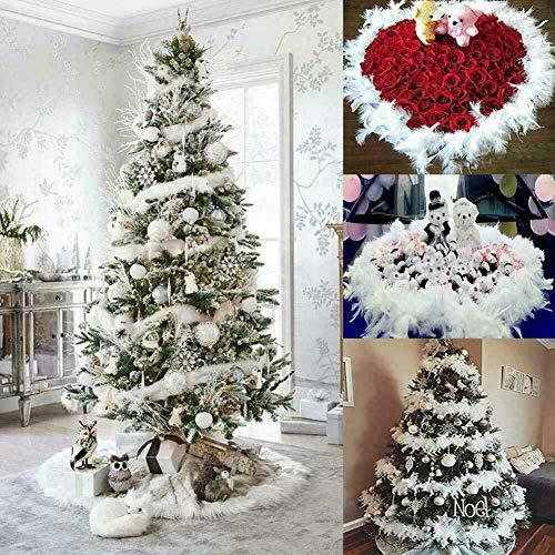 signmeili Weihnachtsband Partygirlande-Dekor, Weihnachtsbaum weiße Federboa Streifen, Federgirlande Flauschige Boa für beflockten Weihnachtsbaumschmuck - 2m langes Band
